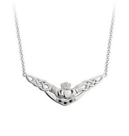 S/S Green Crystal Claddagh Necklet