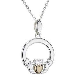 S/S & 10K Gold Heart Claddagh Pendant