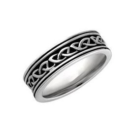 S/S Ladies Oxidised Celtic Knot Band