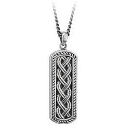 S/S Oxidised Celtic Ingot Pendant