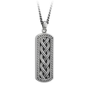 S/S Oxidised Celtic Ingot Pendant