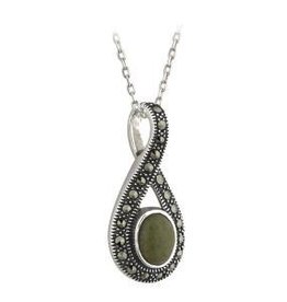S/S Connemara Marble & Marcasite Necklace