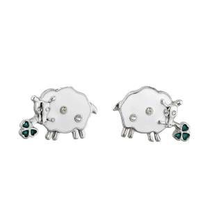 Enamel & Crystal Sheep Stud Earrings