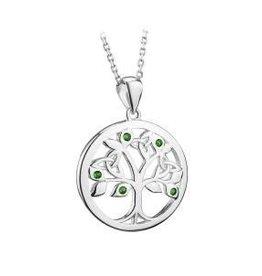 S/S Crystal Tree of Life Pendant