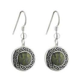 S/S Connemara Marble Round Celtic Drop Earrings