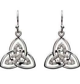 S/S CZ Trinity Knot Earrings