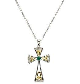 S/S Diamond/Green Celtic Trinity Cross