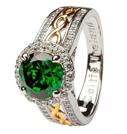 S/S Round Halo Green/CZ Ring