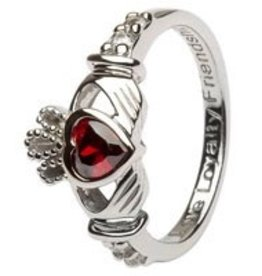 S/S Birthstone Claddagh Ring