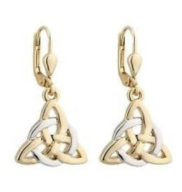 S/S GP Two Tone Trinity Knot Circle Drop Earrings