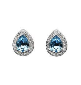 S/S Aqua & White Swarovski Tear Drop Earrings