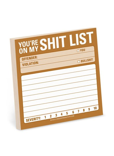 Shit List Sticky Note Pad