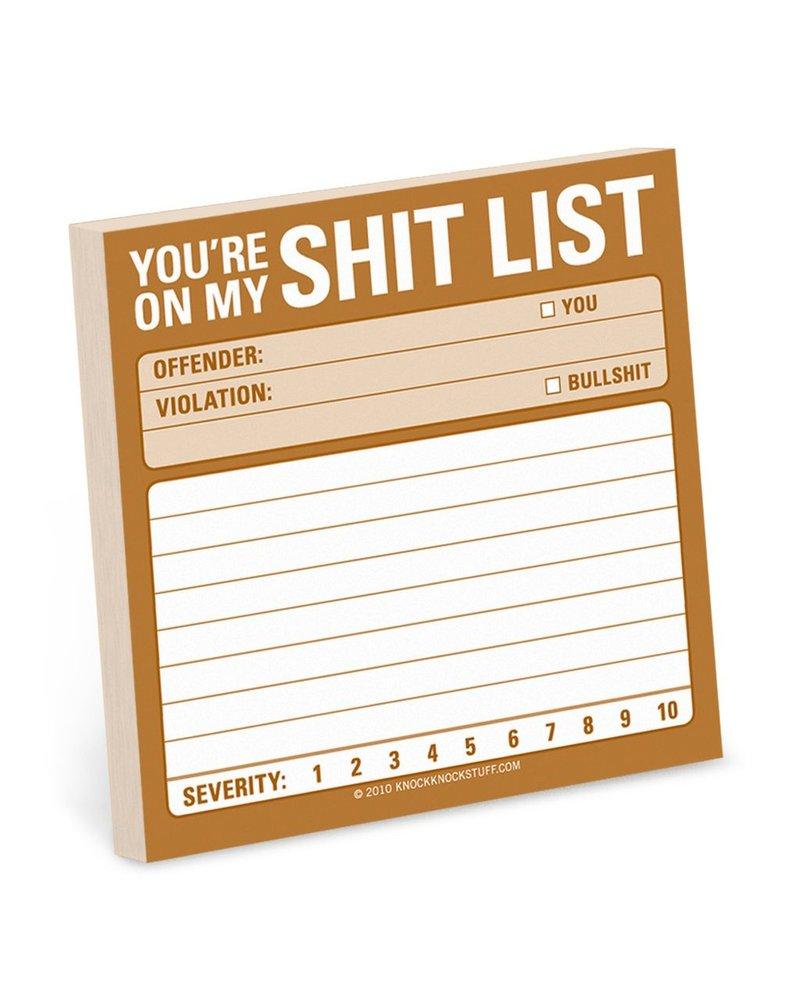 Shit List Sticky Note Pad