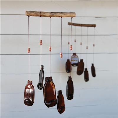 FOUND - Slumped Glass Bottle Wind Chime Brown