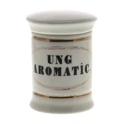 Ung Aromatic. Sm Ceramic Apothecary Jar