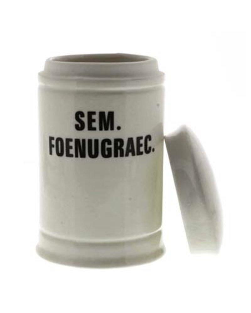 Sem. Foenugraec. Med Ceramic Apothecary Jar