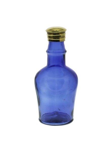 HomArt Glass Bottle Cobalt Blue Short Neck - Flea Market Find