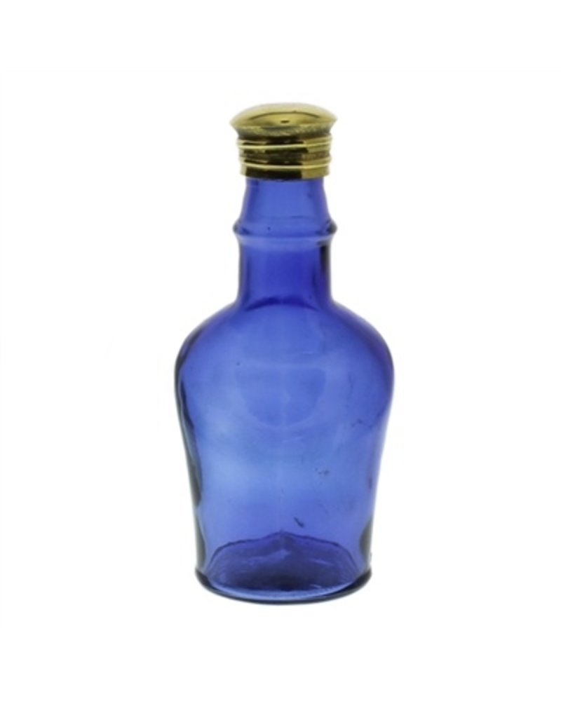 HomArt Glass Bottle Cobalt Blue Short Neck - Flea Market Find