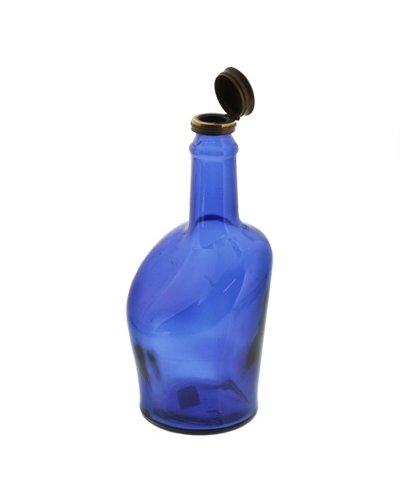 HomArt Glass Bottle Cobalt Blue Tall Neck - Flea Market Find