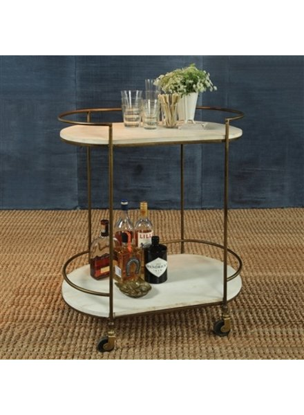 HomArt Gibson Bar Cart - Antique Brass with White Wood