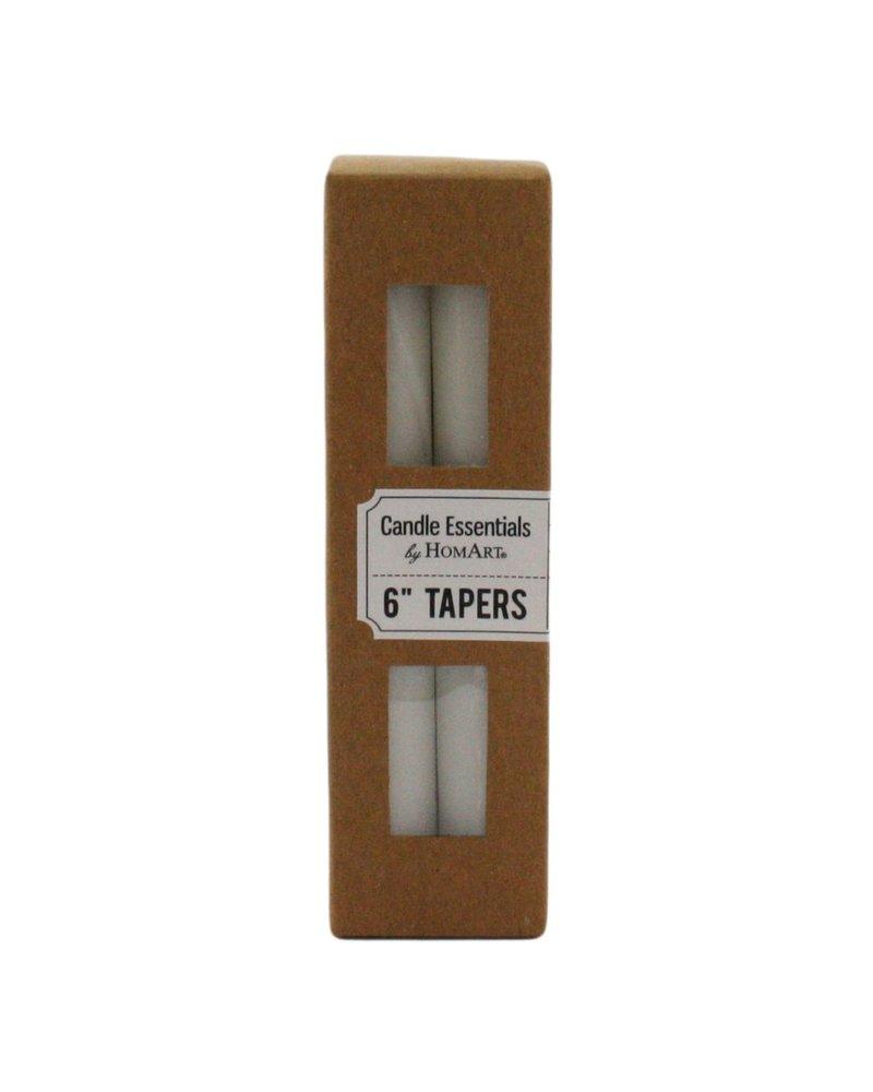 HomArt Taper 6 in - Box of 4 Ivory
