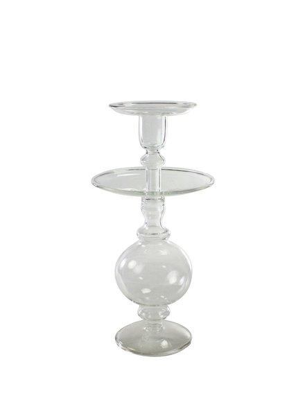 HomArt Helena Glass Taper Holder - Med Clear