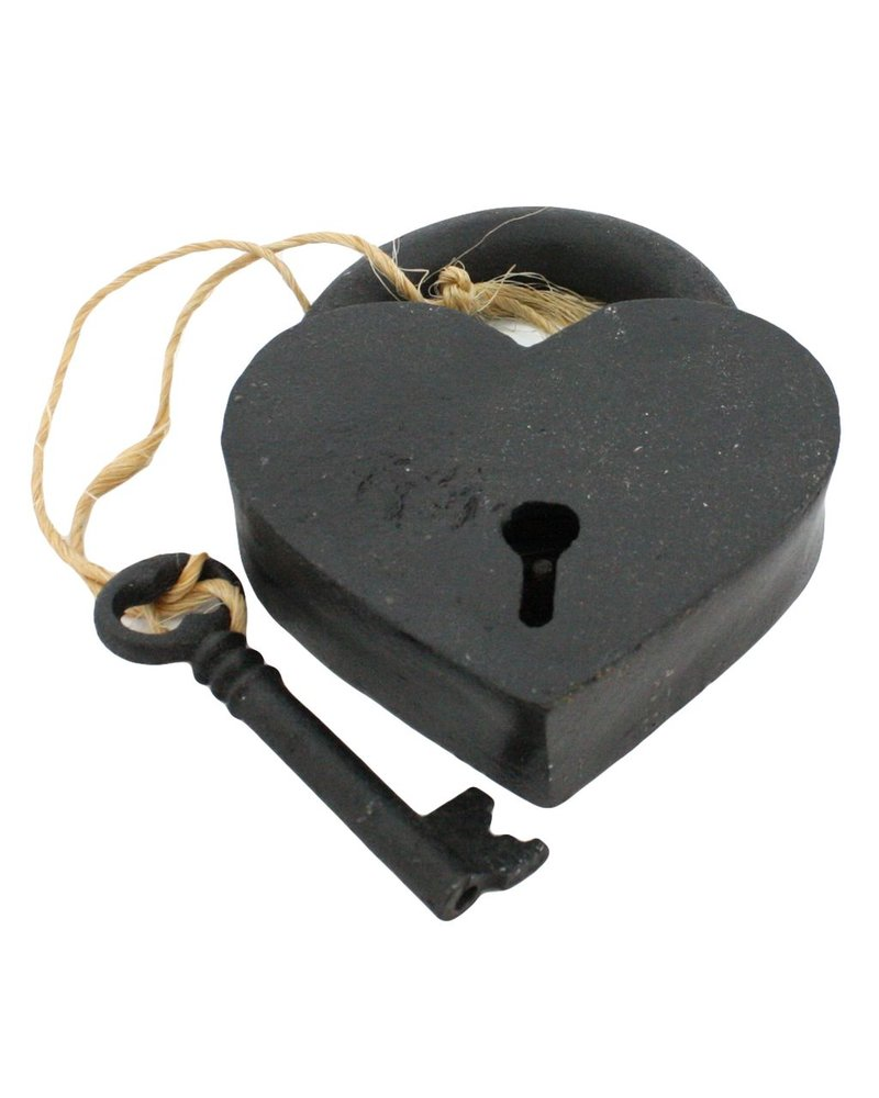 HomArt Heart Lock and Key - Cast Iron Black