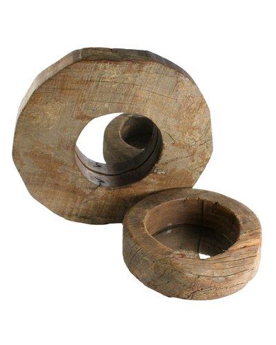 HomArt Salvaged Wood Wheel Mirror