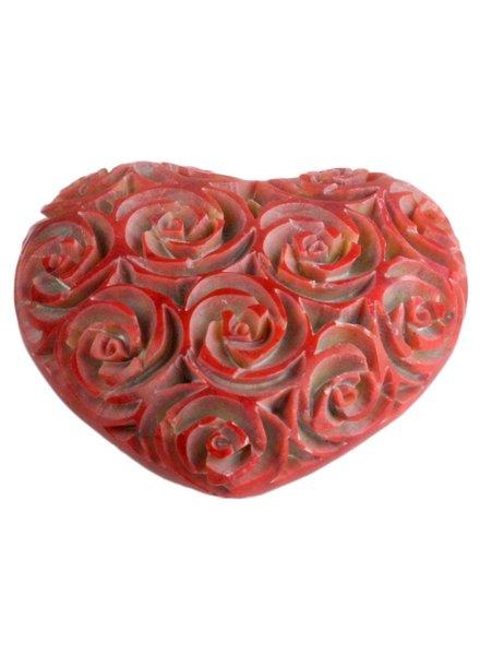 HomArt Lrg Pink Soapstone Carved Rose Heart