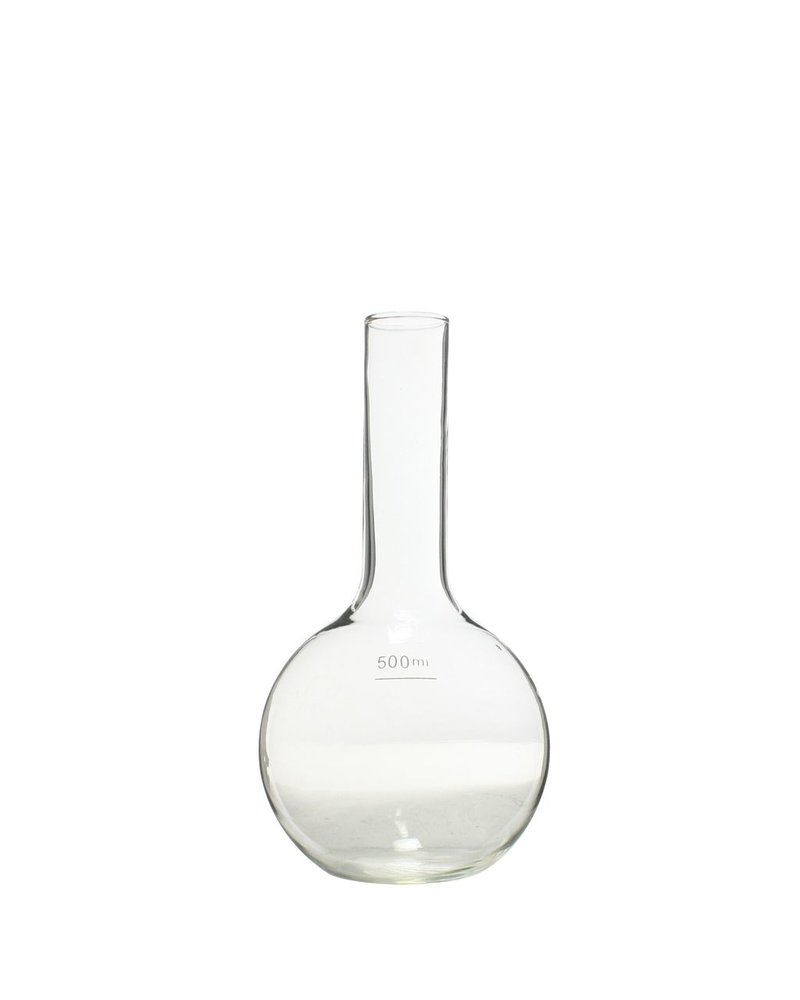 HomArt Chemistry Glass Round Flask Vase - 500ml Clear