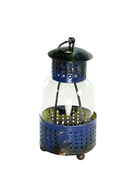 HomArt Reclaimed Metal Lantern - Blue Sm