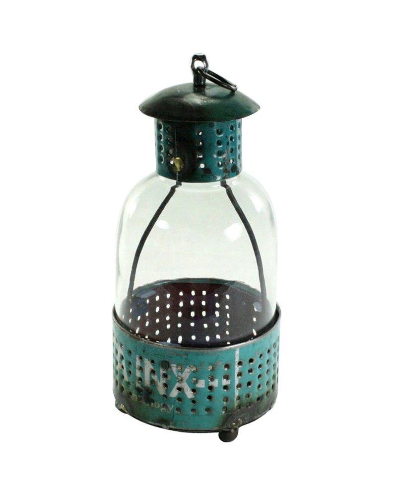 HomArt Reclaimed Metal Lantern - Teal Lrg