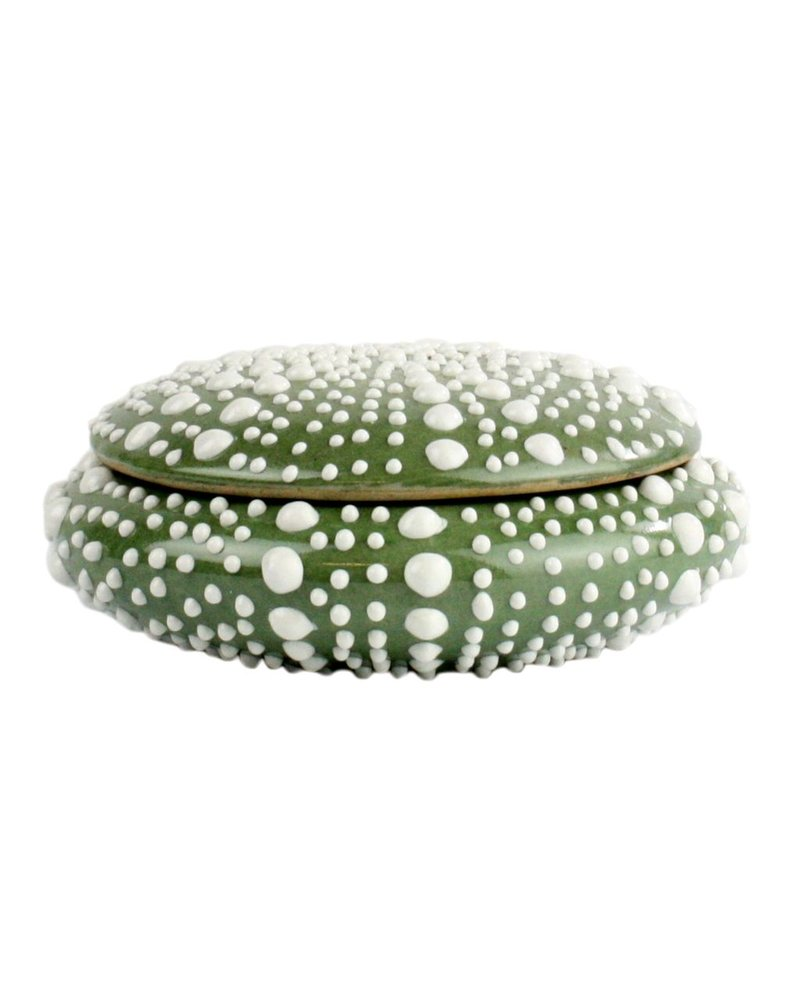 HomArt Green Sea Urchin Round Porcelain Box - Sm