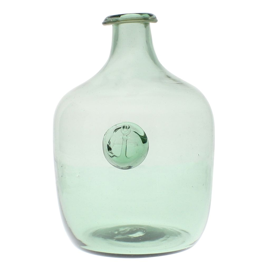 HomArt Anchor Stamped Glass Bottles -Lrg - Smoke Green