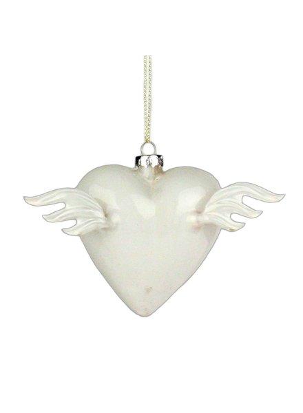 HomArt Glass Winged Heart White