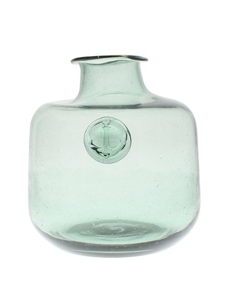 HomArt Anchor Stamped Glass Bottles Med - Smoke Green