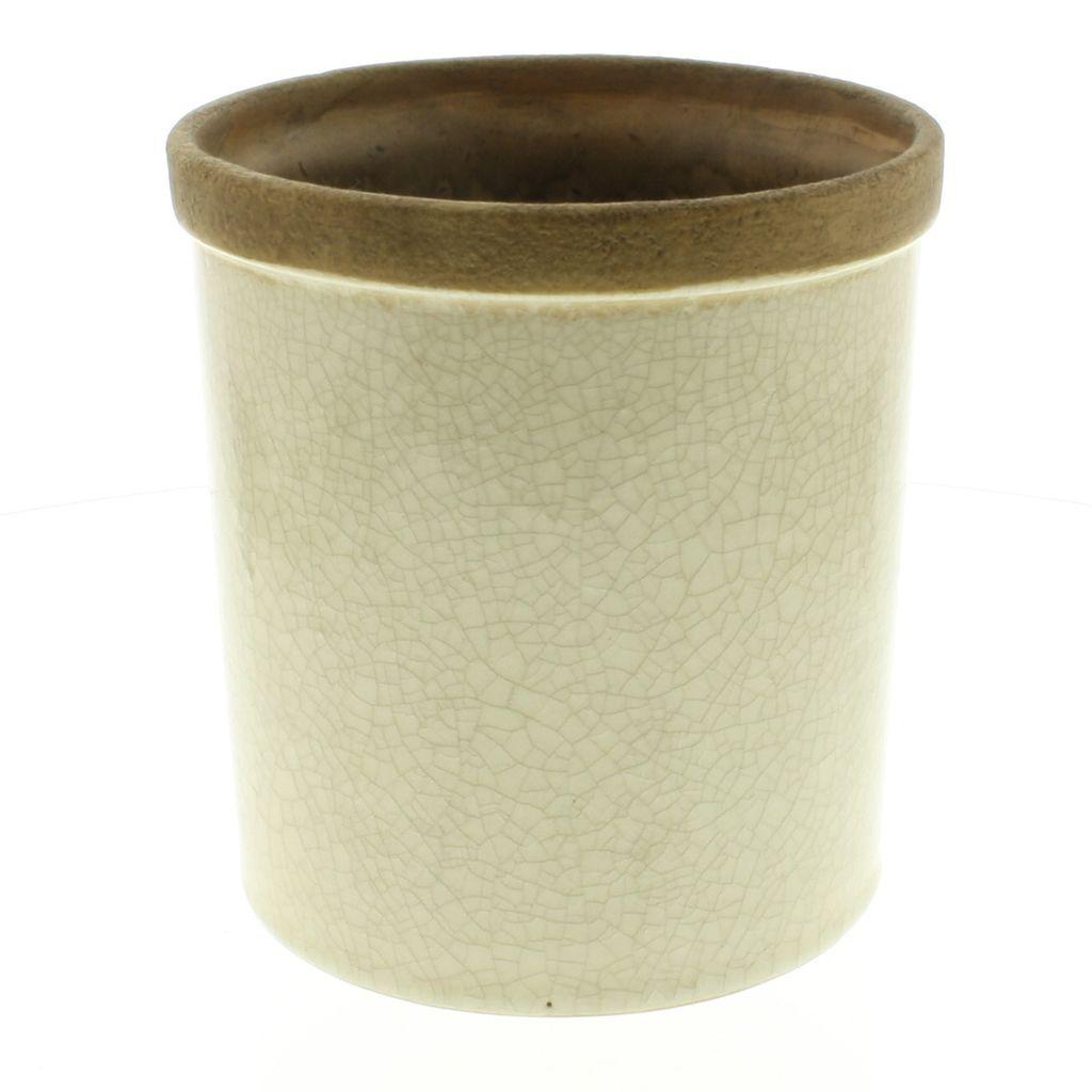 HomArt Baxter Ceramic Cachepots - Med Antique White