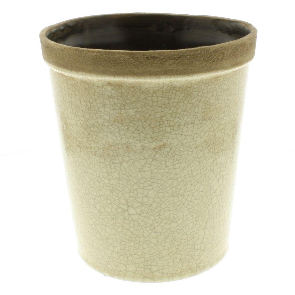 HomArt Baxter Ceramic Cachepots - Lrg Antique White