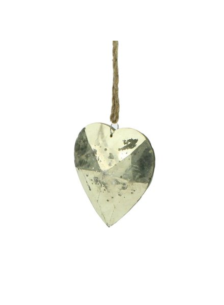HomArt Crystal Heart Distressed Silver