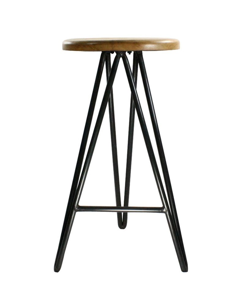 HomArt Harpoon Bar Stool - Wood and Iron Natural