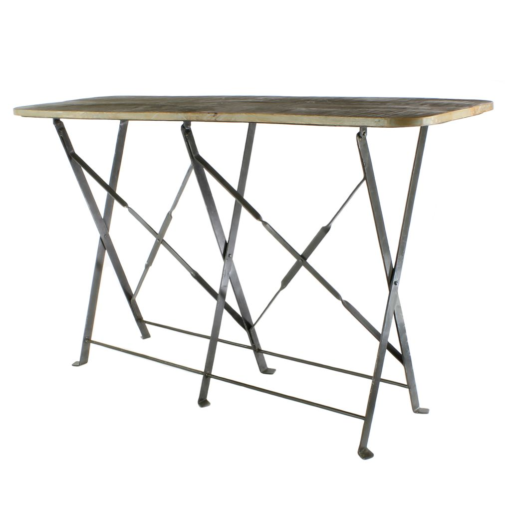 Charmant ... HomArt Bergen Folding Console Table   Natural Metal/Light Grey Wood ...
