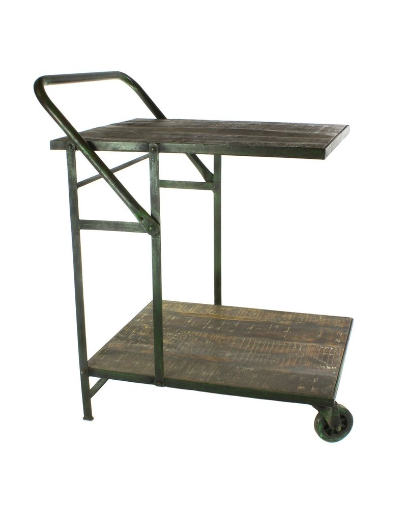 HomArt Ojai Iron Garden Trolley - Antique Green with Distressed Wood