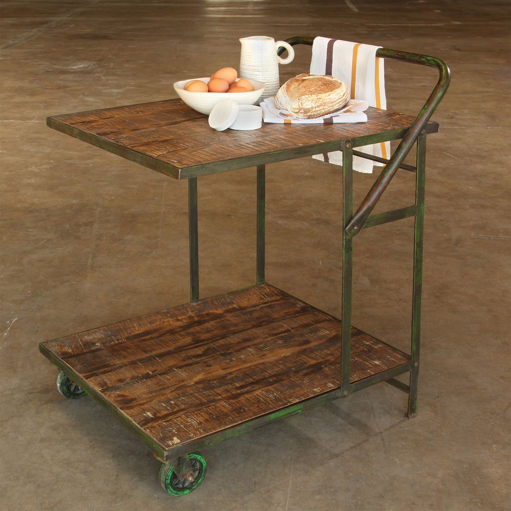 ... HomArt Ojai Iron Garden Trolley   Antique Green With Distressed Wood ...