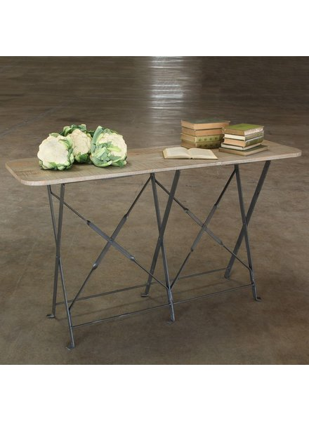 HomArt Bergen Folding Console Table - Natural Metal/Light Grey Wood