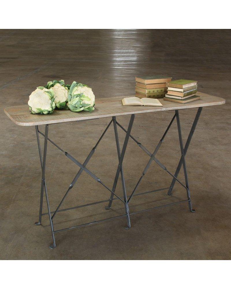 HomArt Bergen Folding Console Table - Natural Metal/Light Grey Wood