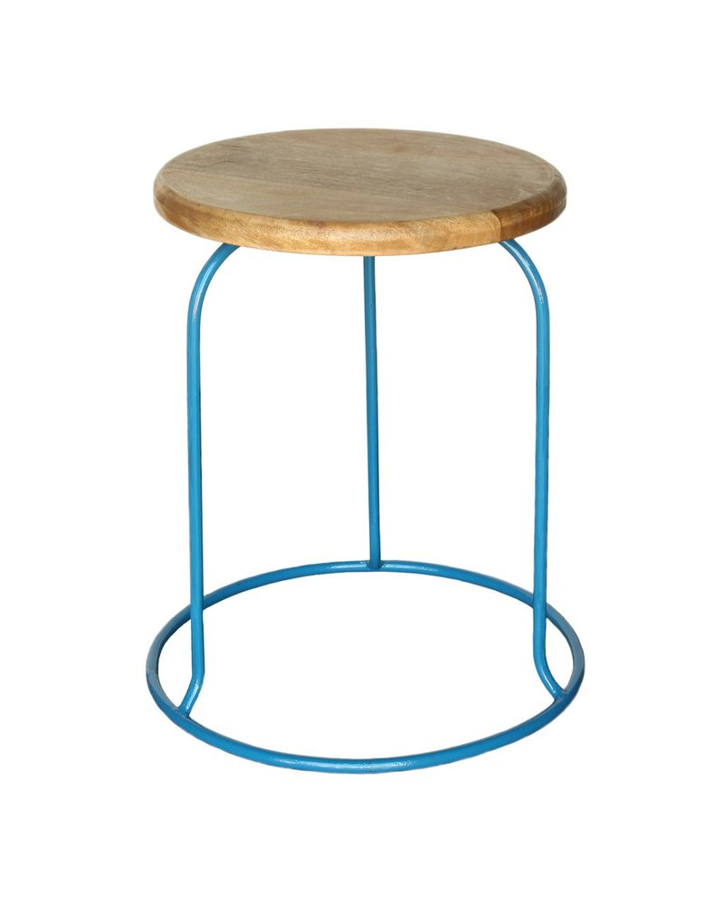 HomArt Graham Iron and Wood Stool - Azure