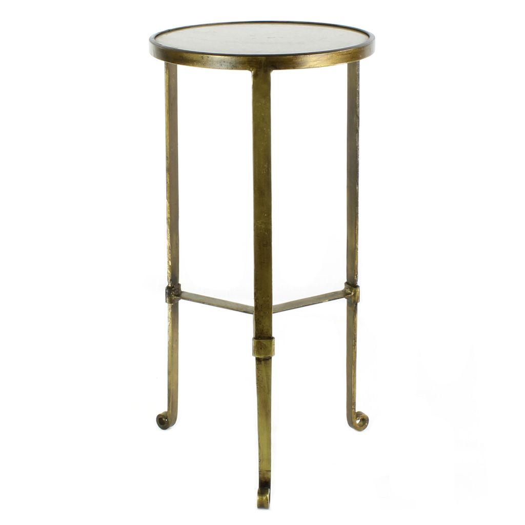 ... HomArt Savoy Iron U0026 Stone Side Table   Antique Brass With White Marble  ...