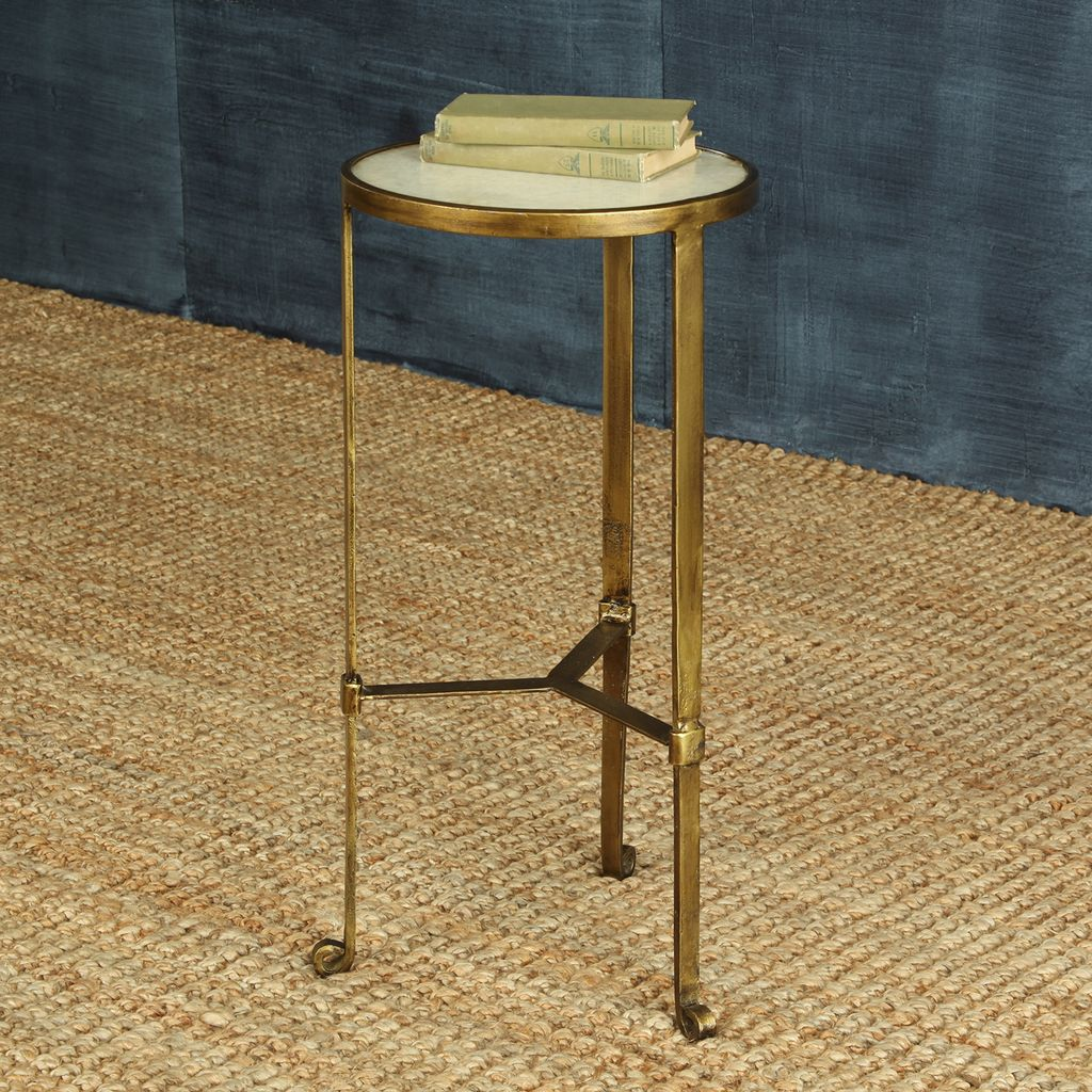 HomArt Savoy Iron Stone Side Table Antique Brass With White - Brushed brass side table