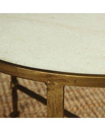 HomArt Savoy Iron & Stone Coffee Table - Antique Brass with White Marble