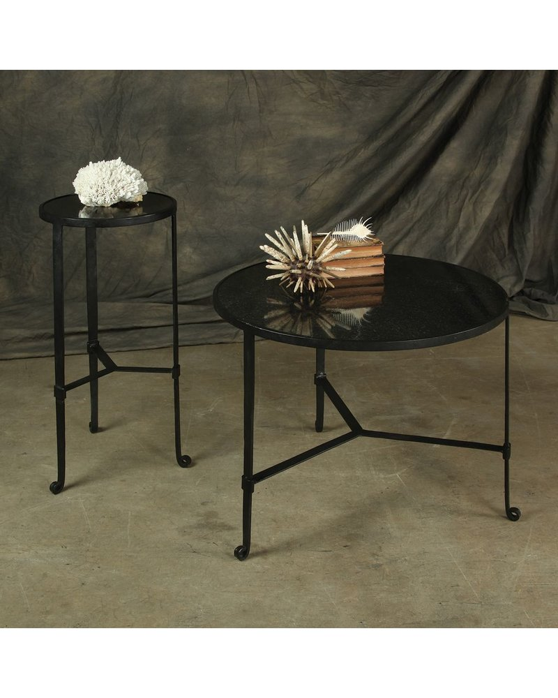 HomArt Savoy Iron & Stone Coffee Table - Black with Grey Stone
